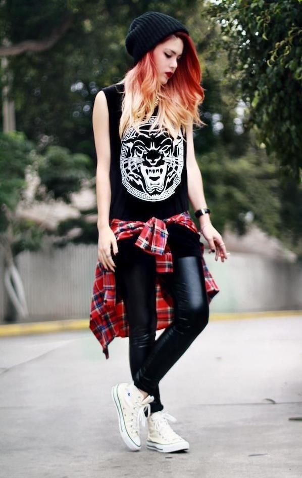 Punk girl shirt around waist