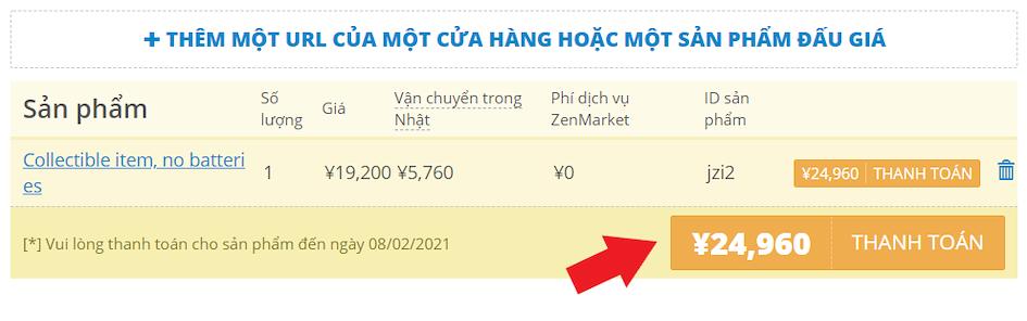ZenMarket - thanh toán cho đơn hàng